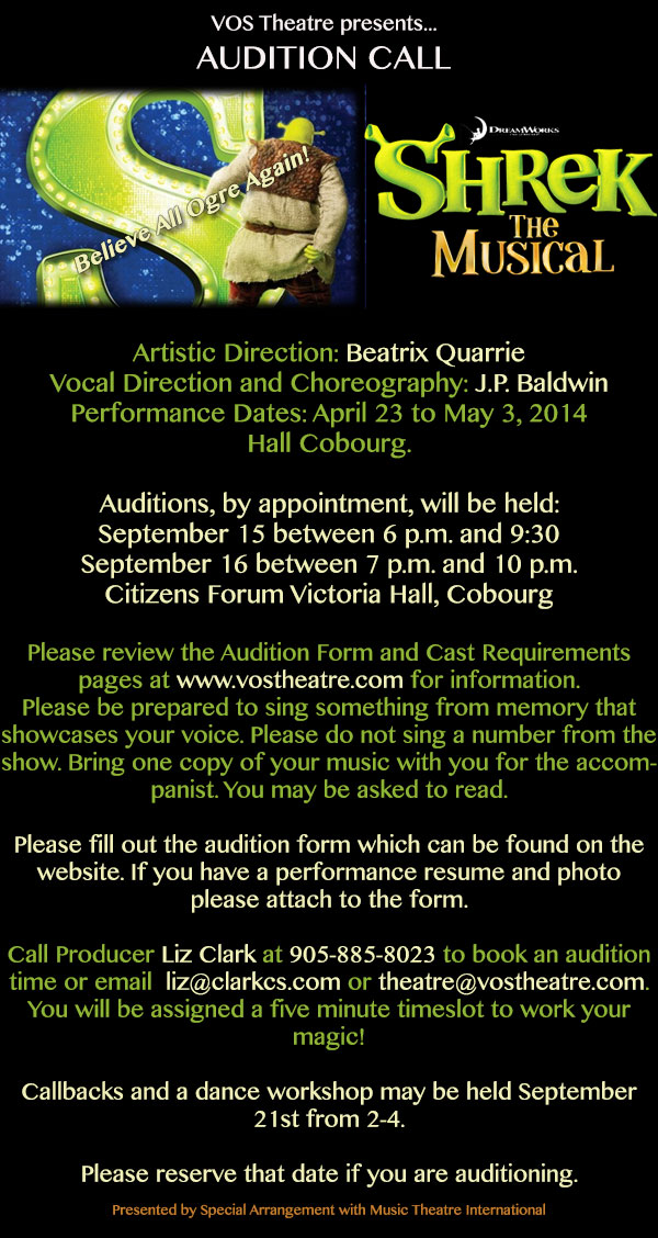 AUDITIONS FOR SHREK!