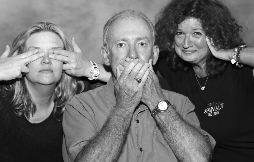 See no evil, hear no evil: Jim with Producers Liz Clark and Beth Hunt