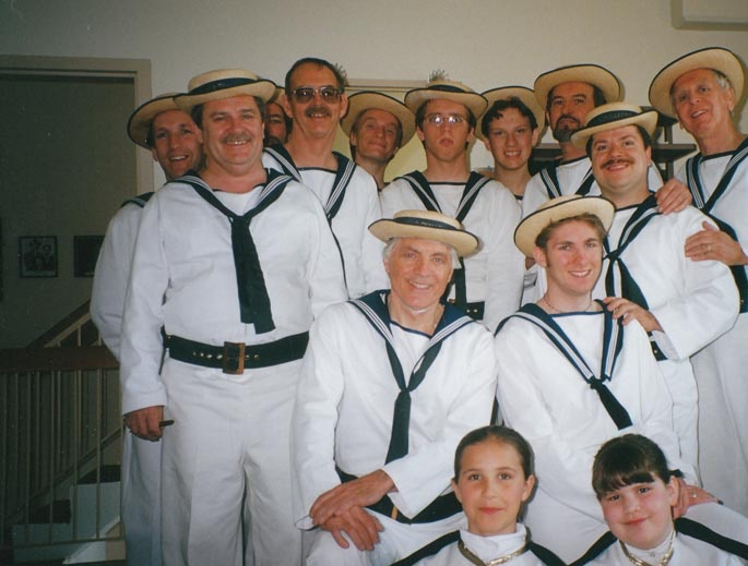 Hugh with the men of HMS Pinafore
