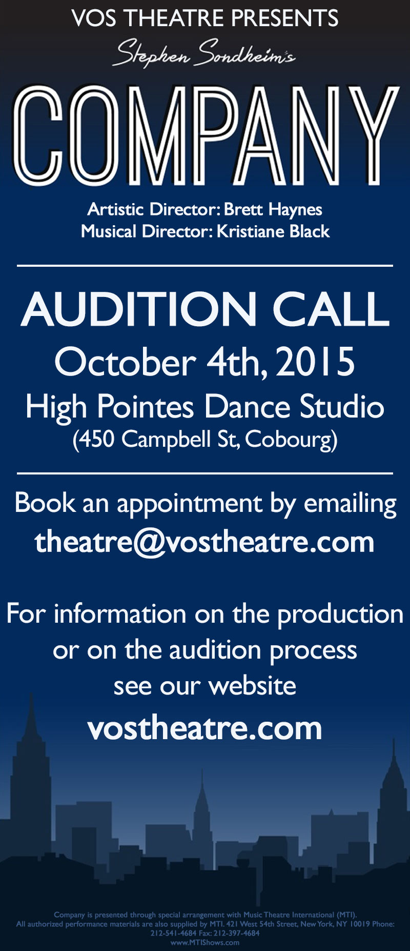Audition call for VOS Production of Company