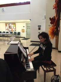 Sonya Guingona works at the piano during rehearsal for Chitty Chitty Bang Bang.