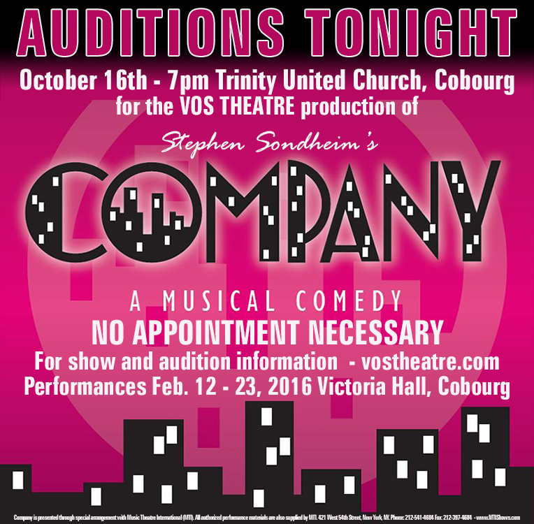Auditions for Sondheim's Company - Cobourg, Ontario