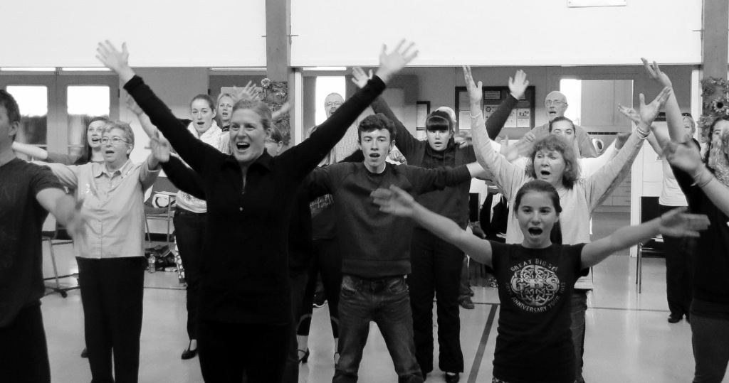 Angela rehearses a dance number with the cast of Chitty Chitty Bang Bang