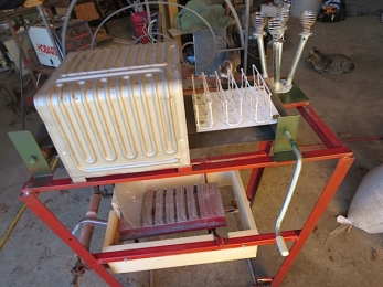 The nearly finished machine in Charles Varty's shop.