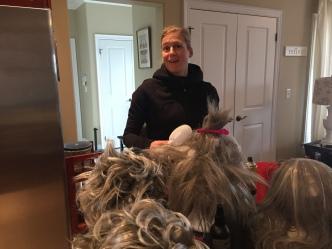 Truly Scrumptious (Angela Main) pulls wig duty.